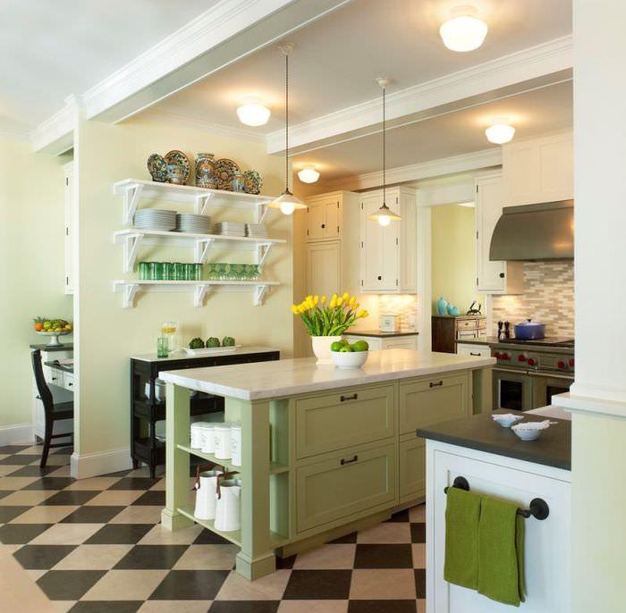 Интерьер кухни в оливковых тонах