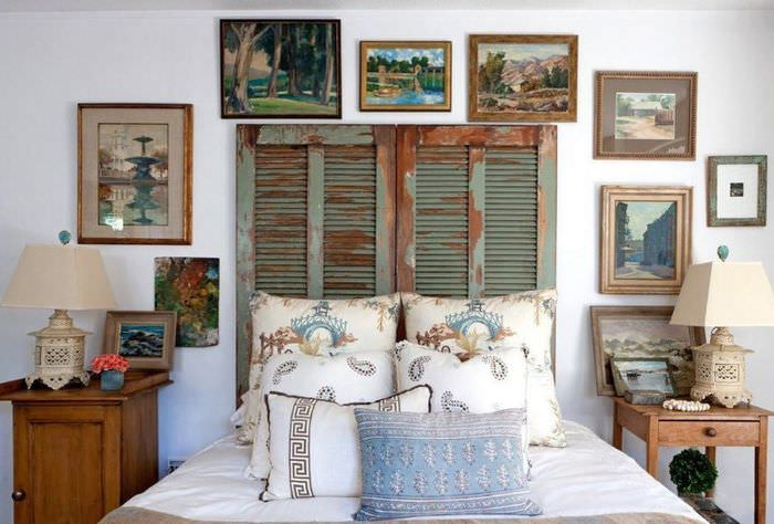 Интерьер спальной комнаты в стиле шебби-шик