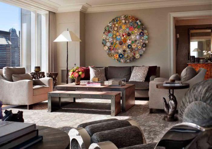 Использование мозаики в дизайне гостиной комнаты