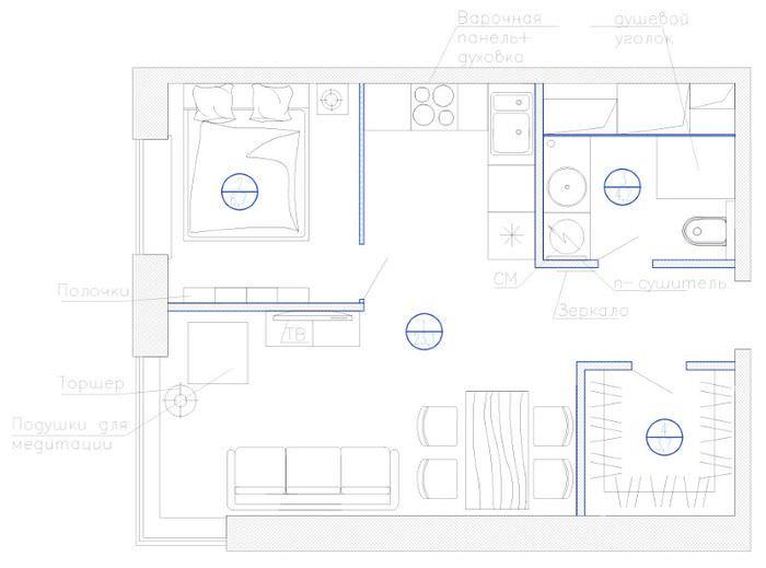 Планировка однокомнатной квартиры для проживания одного человека