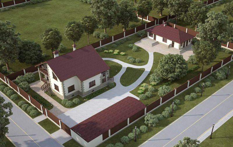 Дизайн-проект дачного участка 15 соток с домом и гаражом