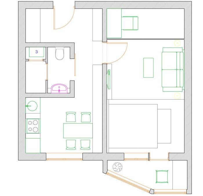 Перепланировка однокомнатной квартиры серии для молодой семьи с ребенком