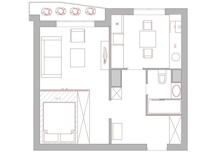 Перепланировка комнаты однокомнатной квартиры с выделением спальной зоны
