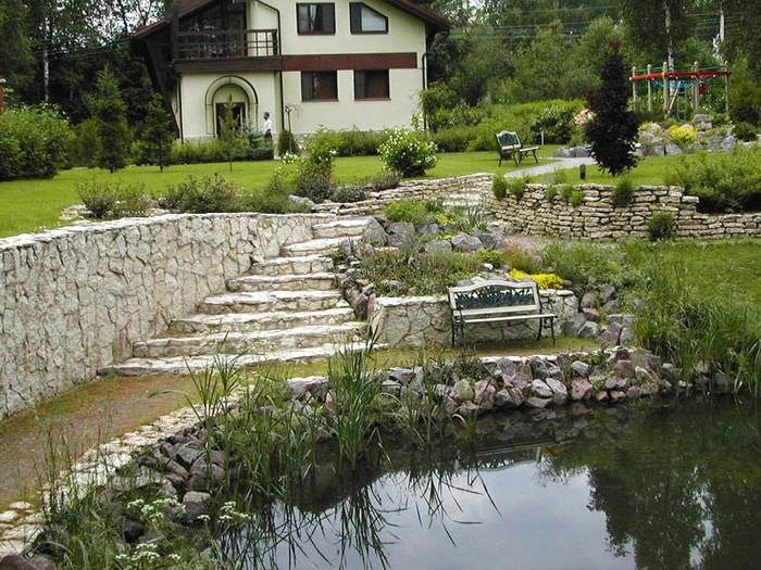 Дизайн сада на склоне с подпорными стенками из камня