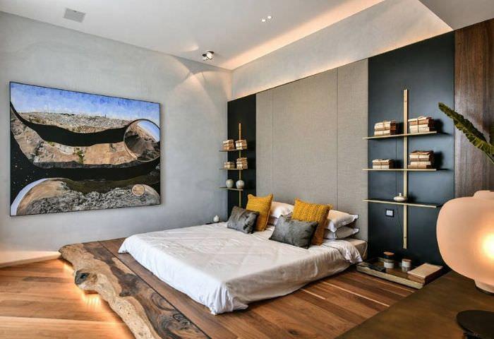 Красивое освещение спальни в современном стиле