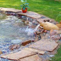 Плитняк на берегу садового водоема