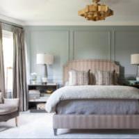 Молдинги в оформлении спальни в стиле прованс