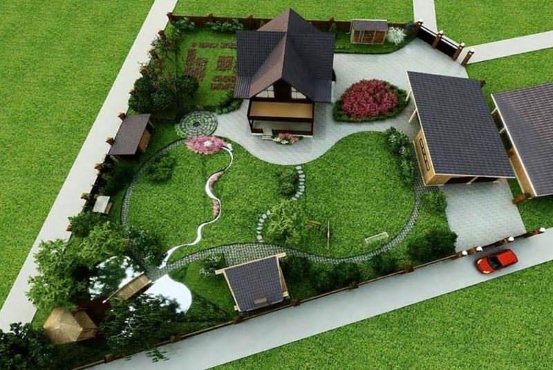 Дизайн-проект участка загородного дома с гаражом и хозяйственными постройками