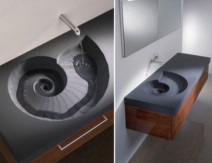 Оригинальная раковина в дизайне необычной ванной комнаты
