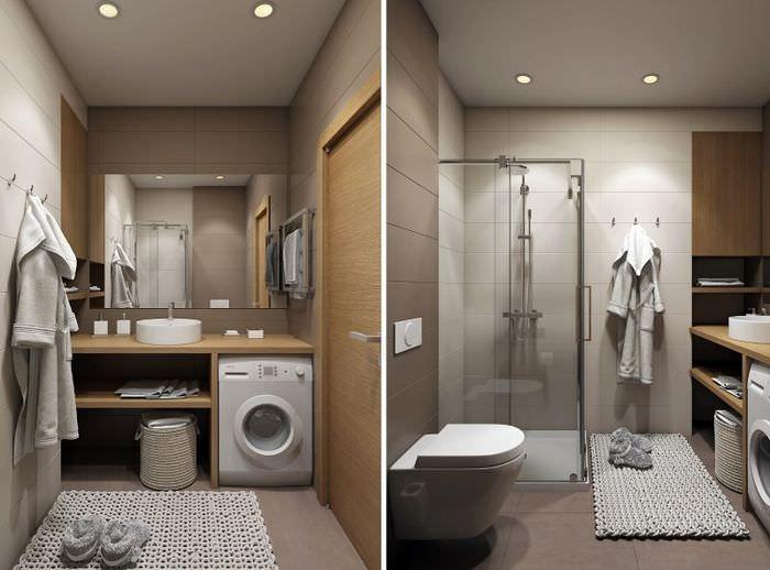 Интерьер совмещенного санузла в однокомнатной квартире