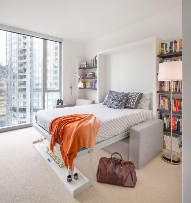 Откидная кровать в дизайне квартиры современного дома