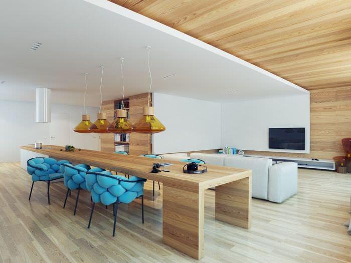 Зонирование кухни-гостиной с помощью разных отделочных материалов
