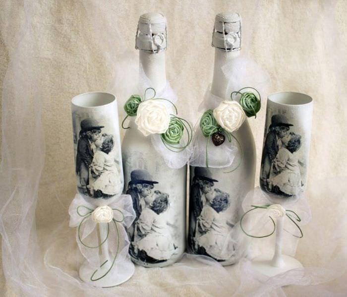 Декупаж бутылок шампанского для оформления свадьбы