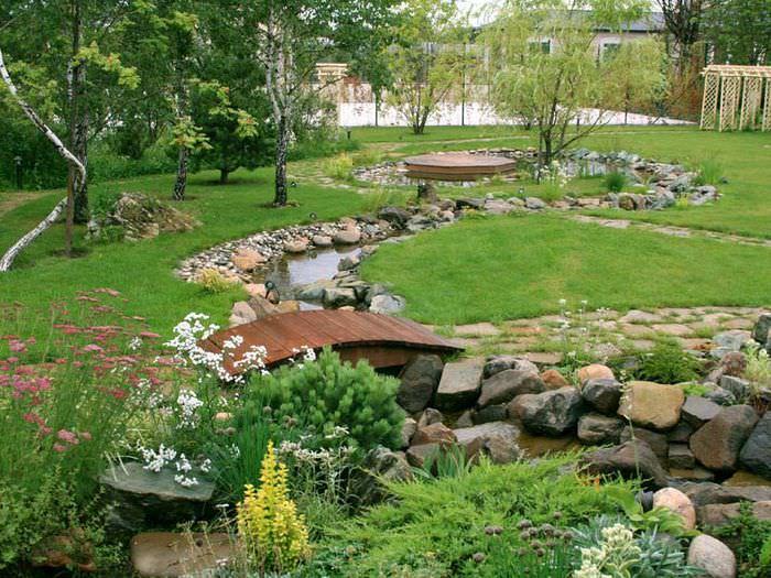 Садовая лужайка с ручьем и деревянным мостиком