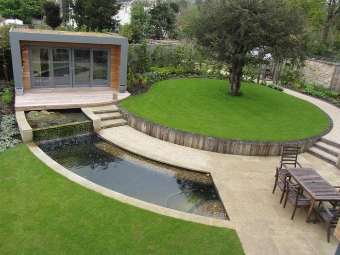 Лаконичный сад в стиле модерн с водоемом