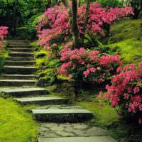 Каменная лестница в цветущем саду