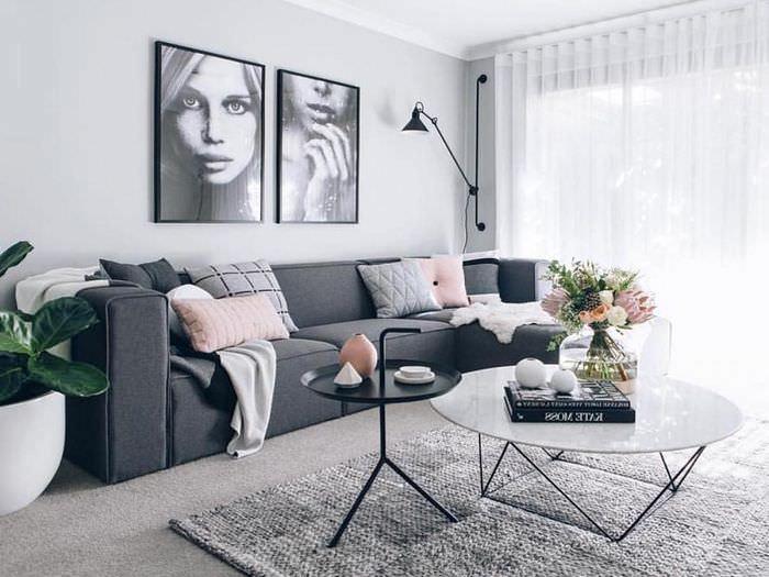 Модный дизайн гостиной в серых тонах