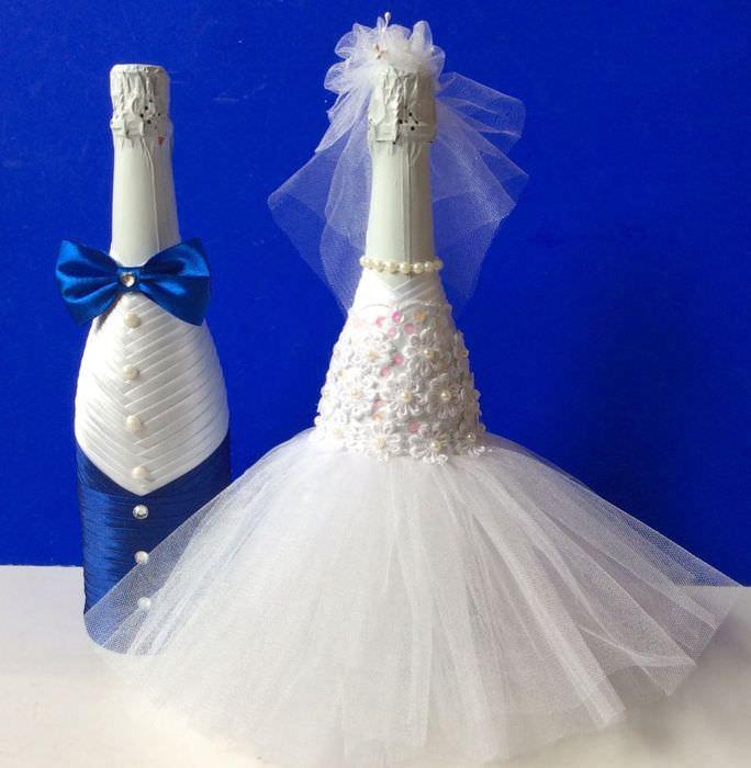 Красивые бутылки шампанского своими руками для свадьбы