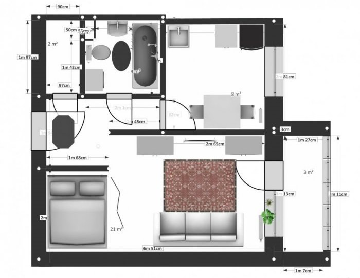 Схема планировки квартиры-студии