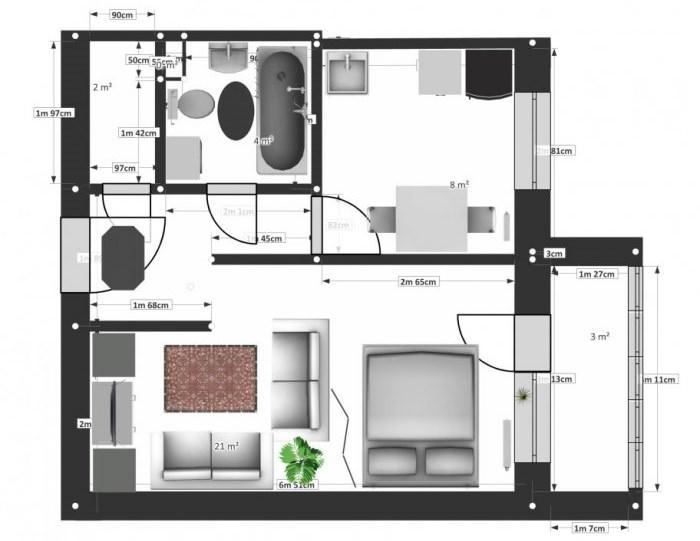 Планировка однокомнатной квартиры 37 кв м с разделением комнаты на зоны