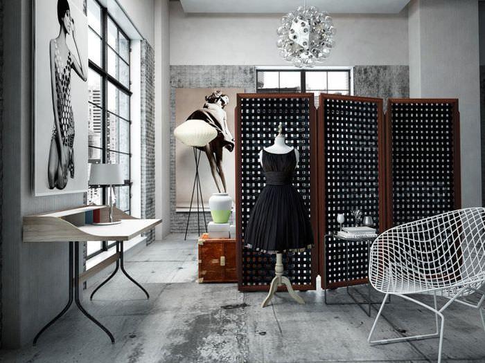 Зонирование пространства ширмой в совмещенной комнате