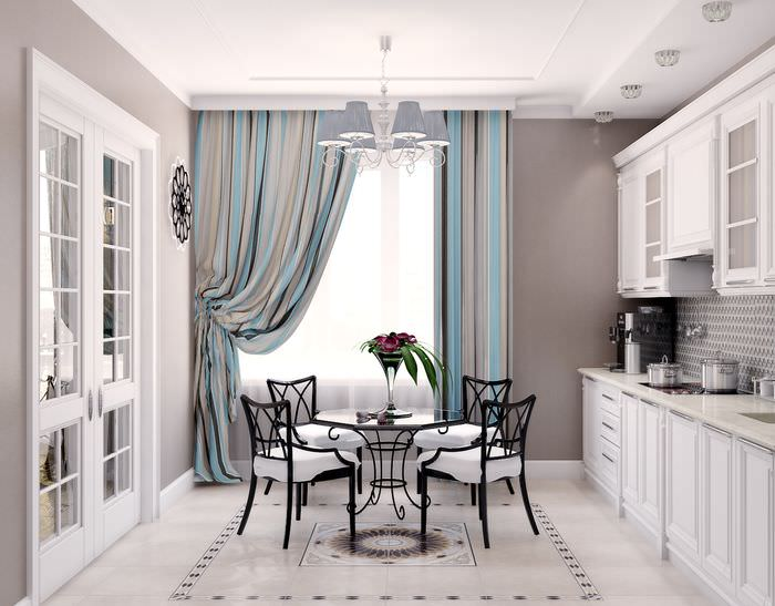 Плотные шторы в интерьере кухонного пространства
