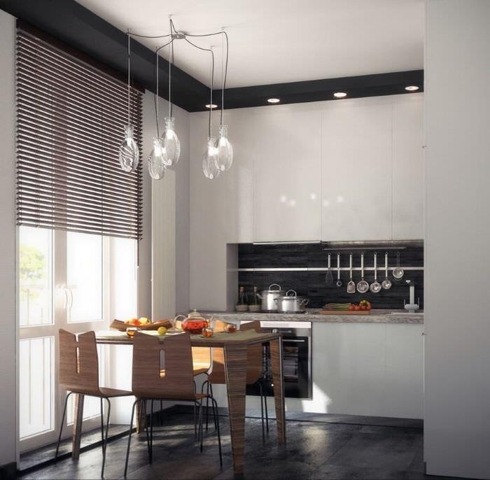 Дизайн кухни однокомнатной квартиры в скандинавском стиле