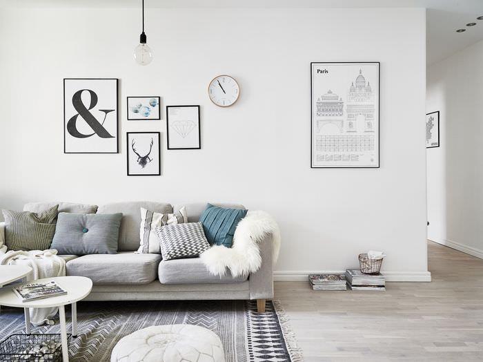 Текстиль и картины в декорирование однокомнатной квартиры