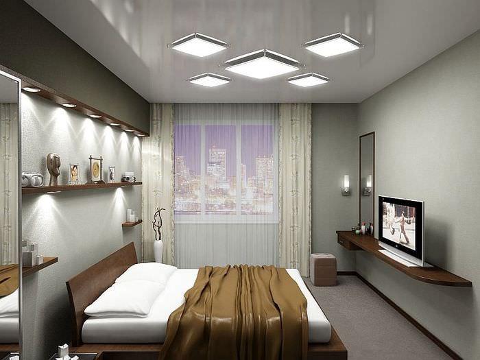 Плоские светильники на потолке спальни