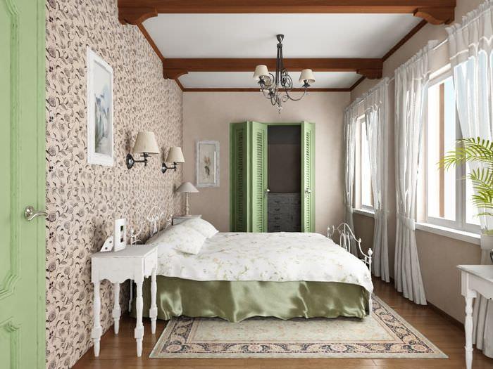 Дизайн спальни частного дома в стиле прованс