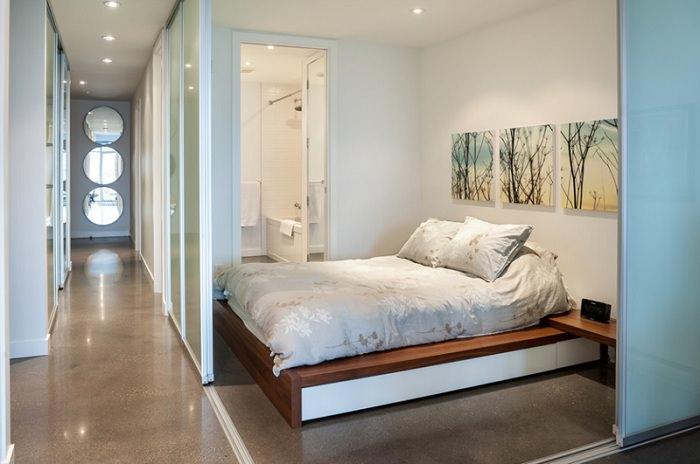 Дизайн спальни с раздвижными перегородками