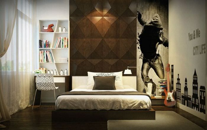 Дизайн интерьера спальни молодого человека