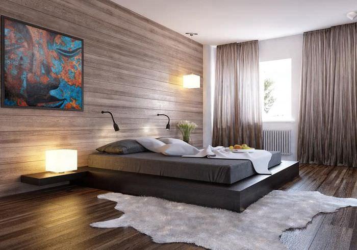 Дизайн мужской спальни в стиле хай-тек