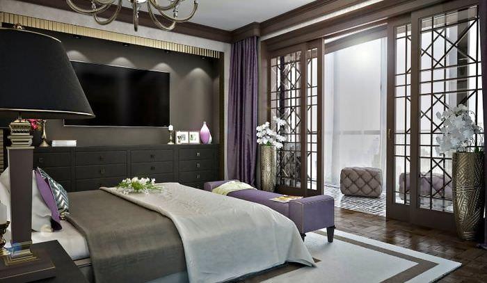 Дизайн спальни в стиле арт-деко для мужской квартиры