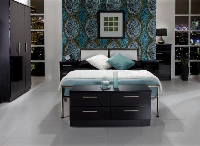 Дизайн темной спальни в стиле минимализма