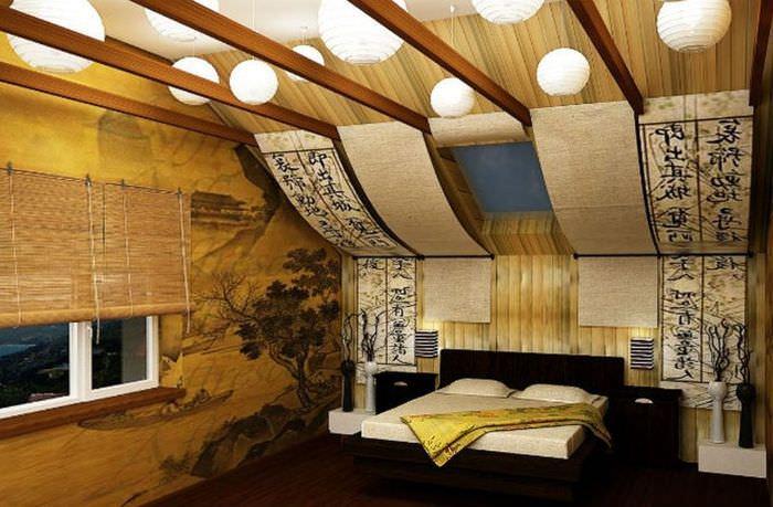 Интерьер небольшой спальни в восточном стиле