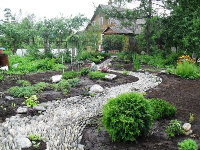Сухой ручей в дизайне садового участка