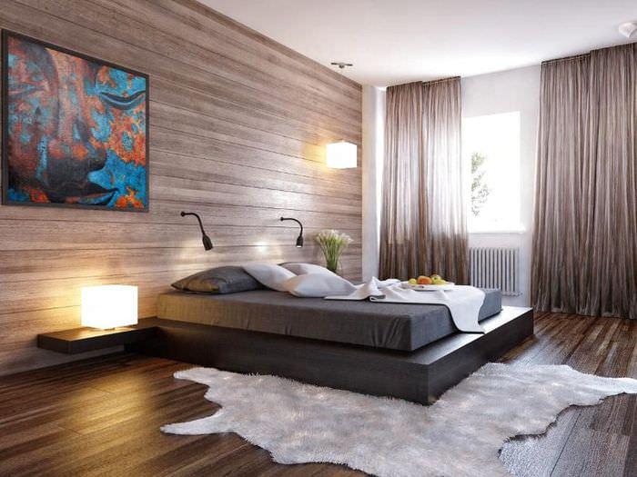 Дополнительные светильники в дизайне спальни городской картиры
