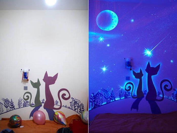 Светящиеся обои на стене детской комнаты