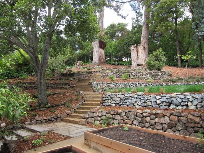 Дизайн наклонного участка сада с террасами