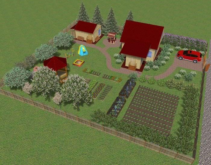 Проект загородного участка с садом и огородом