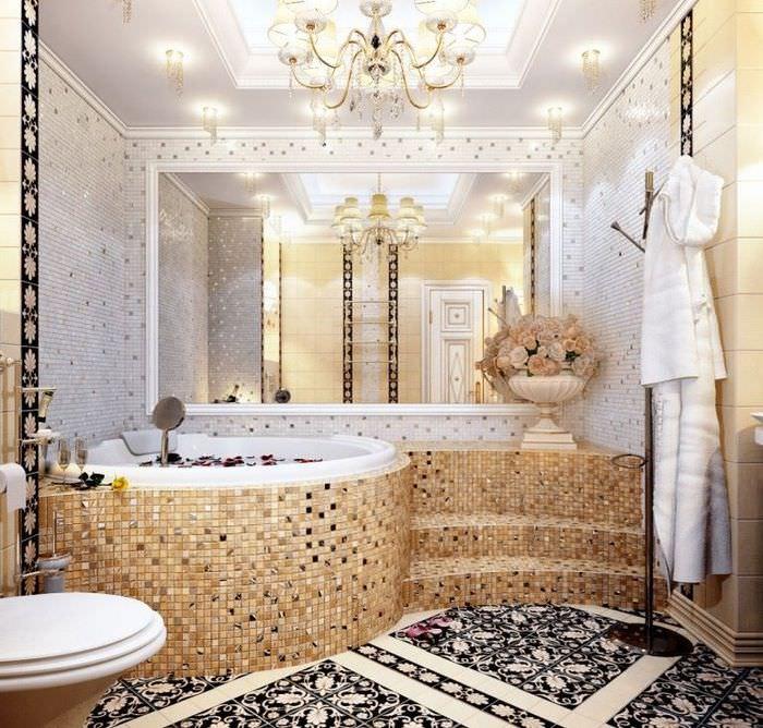 Мозаичная отделка интерьера ванной комнаты