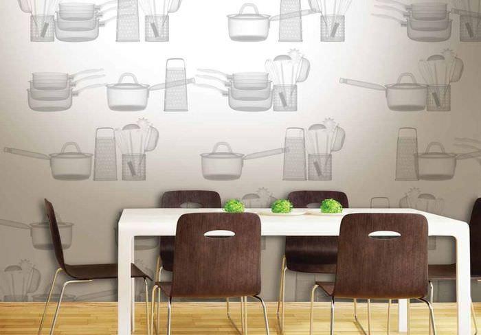 Отделка кухонных стен вспененными обоями из винила