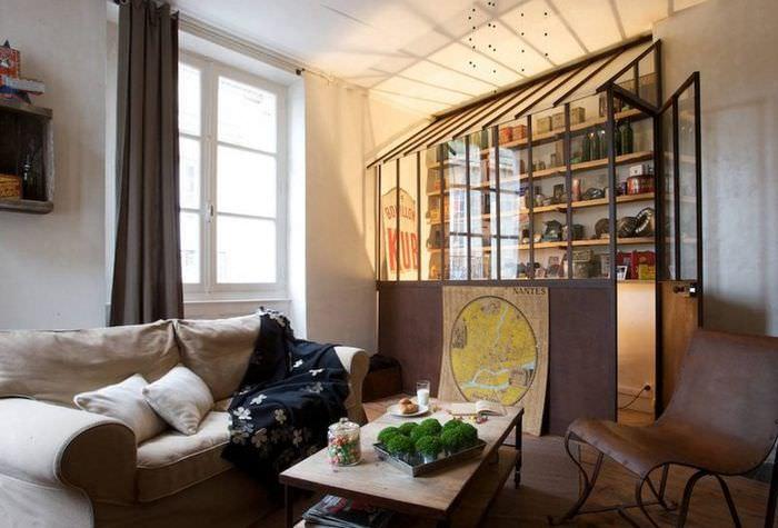 Закрытый стеллаж в гостиной заядлого коллекционера
