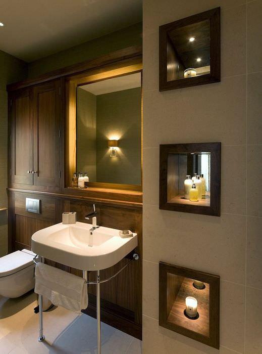 Зеркальные ниши с подсветкой в ванной комнате