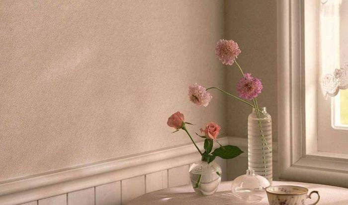 Жидкие обои в дизайне кухонных стен