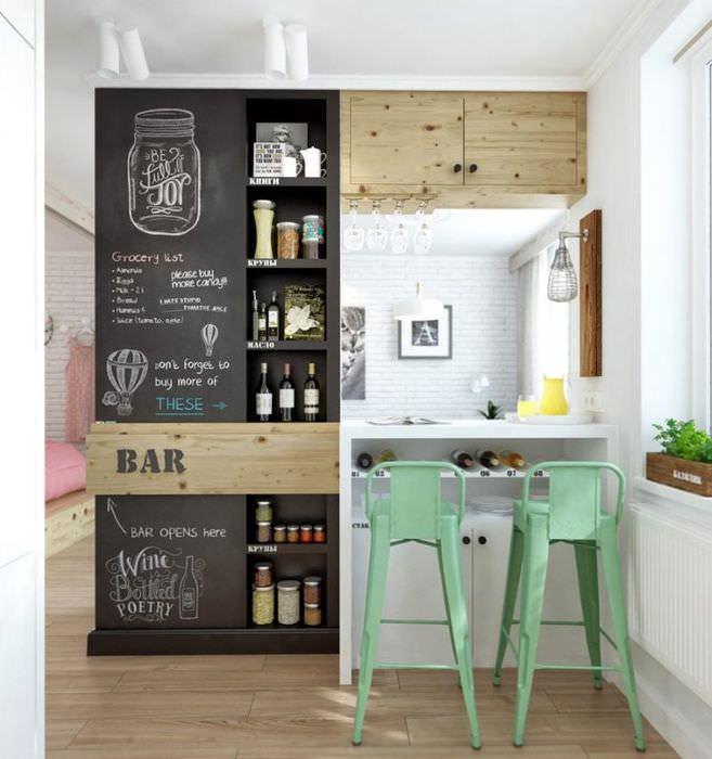 Зонирование однокомнатной квартиры с помощью барной стойки