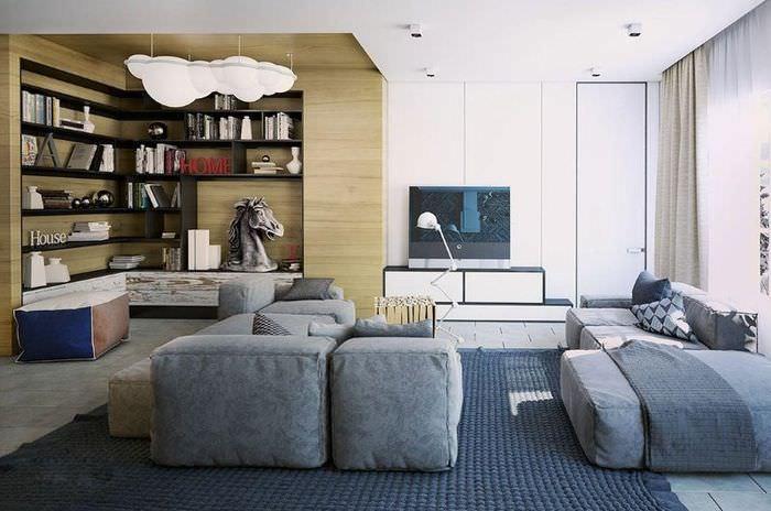 Зонирование пространства гостиной с помощью ковра