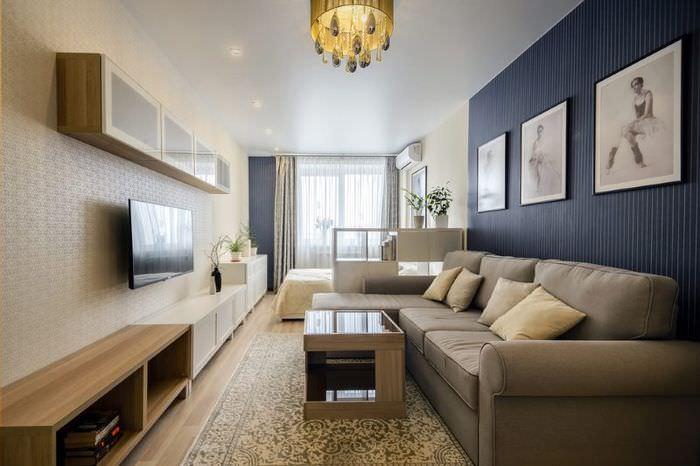 Выделение зон обоями в однокомнатной квартире площадью 40 кв метров