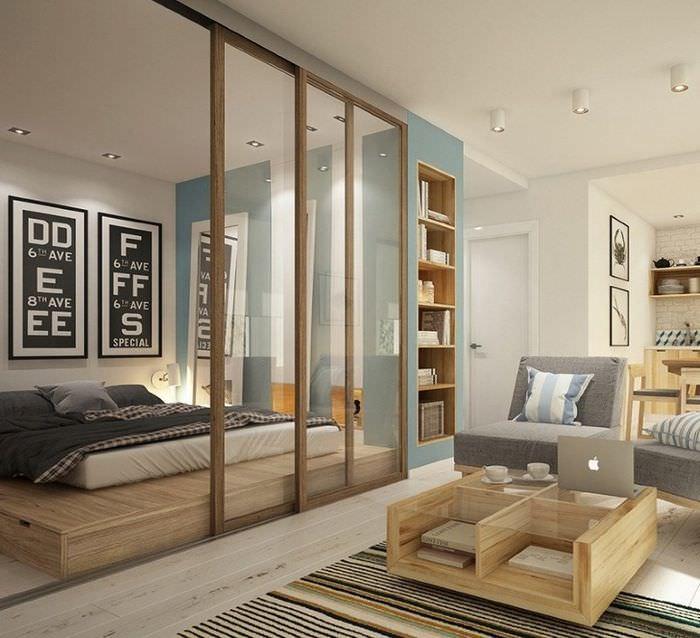 Зонирование ширмой однокомнатной квартиры площадью